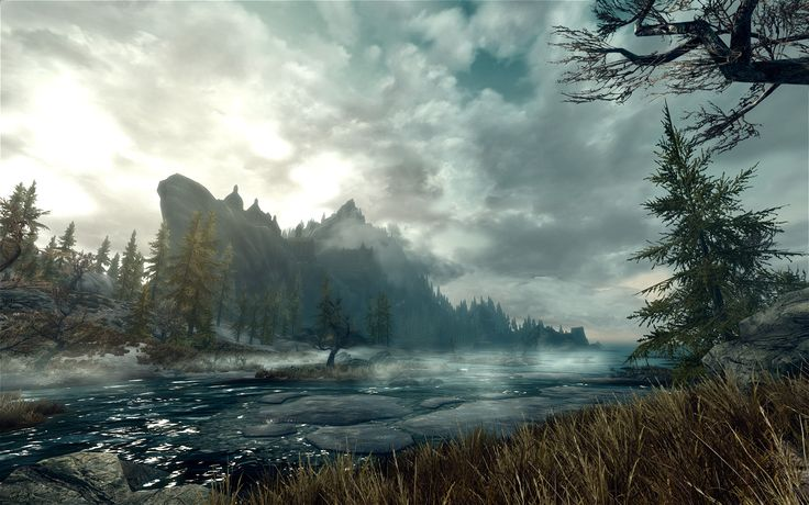 Screen Capture of the Skyrim landscape
