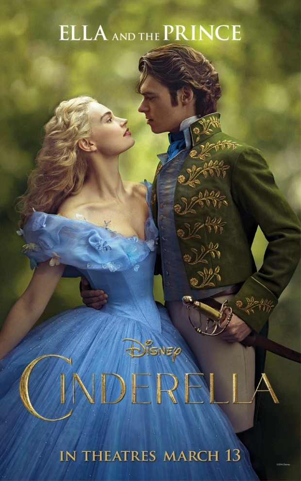 Promo image of Disney's live action Cinderella with the prince