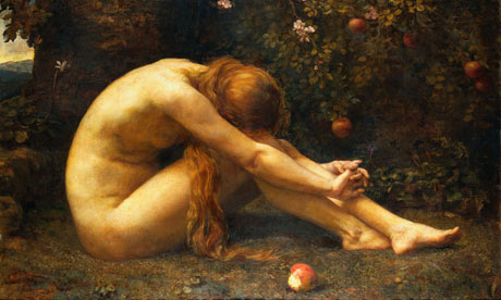 Eve's state of distress after eating the apple and Adam's leaving her due to his repulsion for her indulgence in sin.