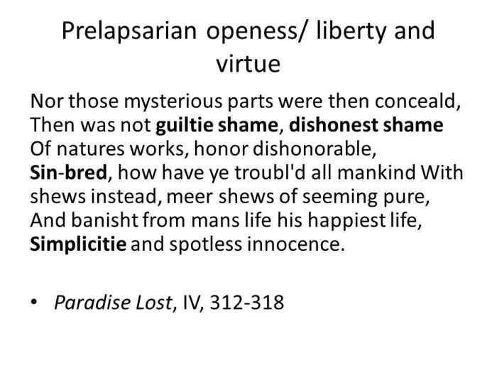 Definition of Prelapsarian, as exhibited from John Milton's Paradise Lost (1667)