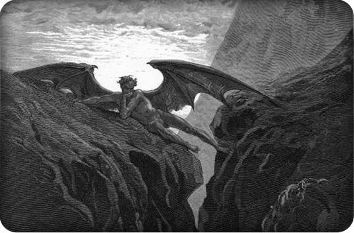 Satan contemplating the destruction of God's creation of Paradise.