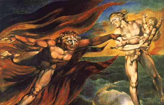 Rendition of Satan's attack against God in Milton's Paradise Lost (1667)