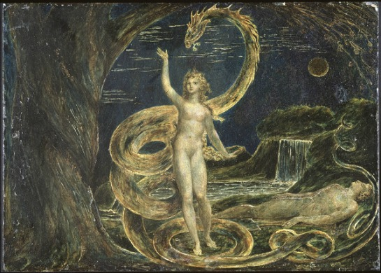"""William Blake's """"Hallucinatory"""" depiction of the snake from Paradise Lost."""
