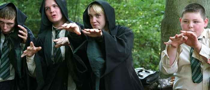 Malfoy and his cronies pretend to be dementors