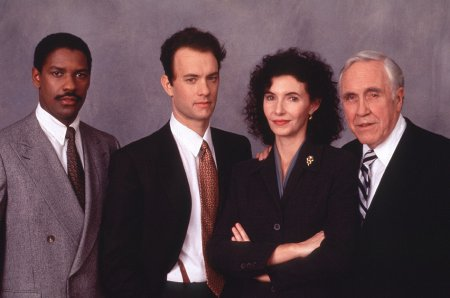 The cast of Philadelphia, pictured in full Law and Order mode.
