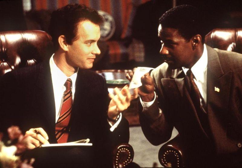 Andy Beckett (Tom Hanks) and Joe Miller (Denzel Washington) in Philadelphia (1993).