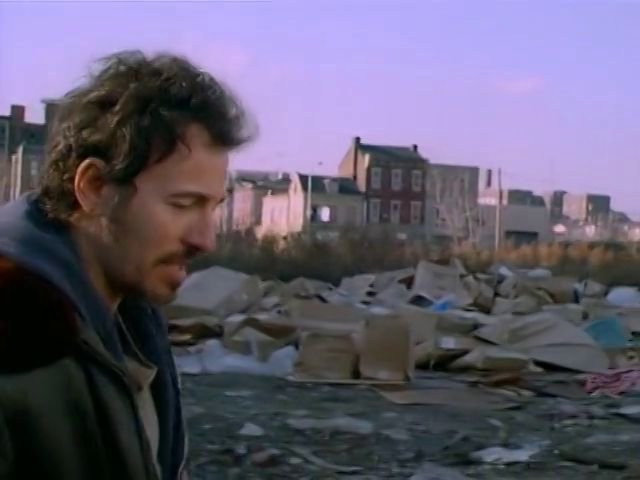 "Bruce Springsteen in the video for his Oscar, Grammy and Golden Globe-winning song ""Streets of Philadelphia,"" the cinematography of which mirrors that which accompanies the song in Philadelphia."