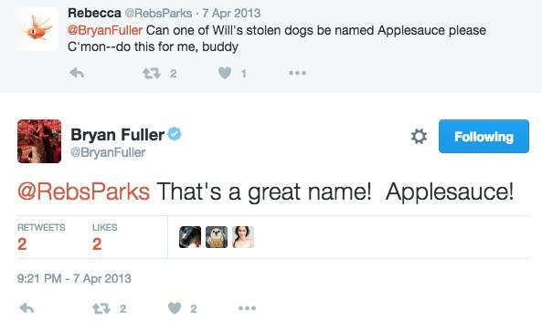 Bryan Fuller responding to a fan tweet.