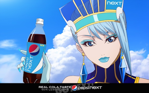 Tiger and Bunny character Blue Rose advertising her sponsor, Pepsi.