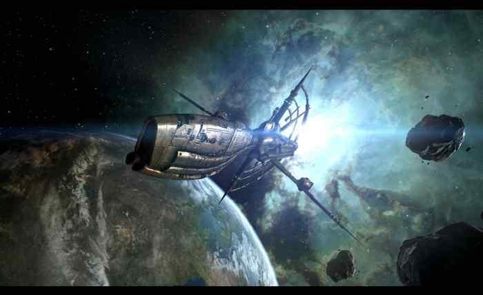 Cruising through space in EVE Online.