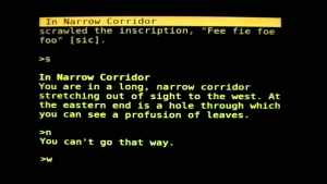 """Example of """"Colossal Cave Adventure""""'s gameplay"""