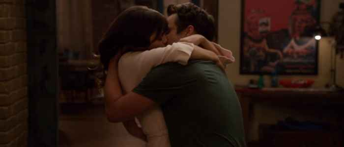 "Jess and Nick's eagerly anticipated first kiss on New Girl in the episode ""The Cooler."""