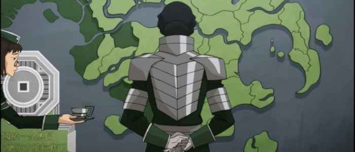 Kuvira reuniting the Earth Kingdom, which she transforms into her own Earth Empire.