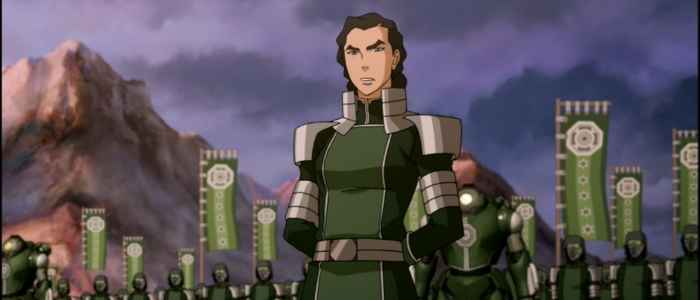 "Kuvira creating her new Earth Empire in the ""Battle Zaofu"" episode."