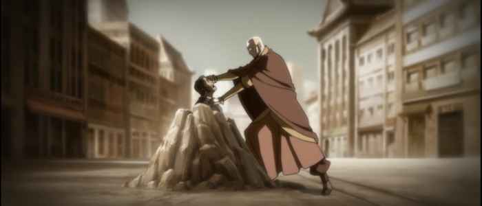 """Avatar Aang removing the bloodbender Yakone's bending in a flashback from the episode """"Out of the Past."""" Amon wants the same power so he can remove bending from the world completely."""