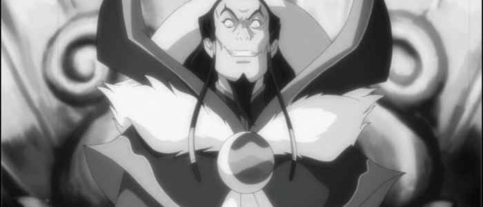"Unalaq's on-screen depiction in one of Varrick's ""movers,"" from the episode ""The Sting."""