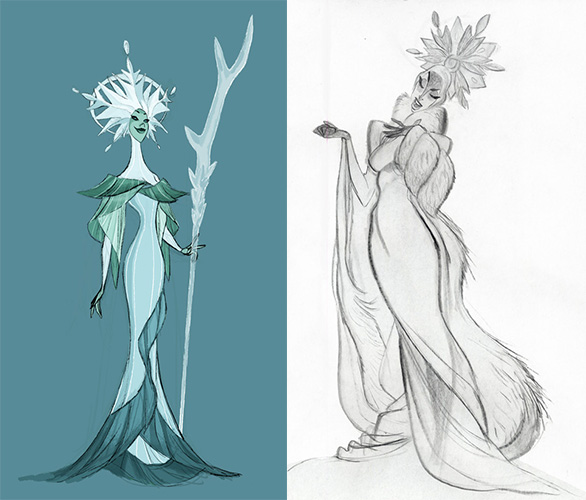 Early concept art for a villainous Elsa.