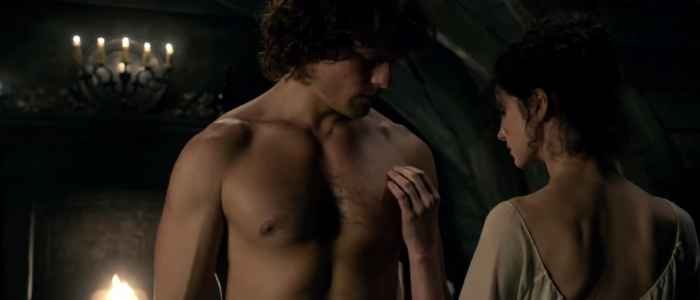 "One of Claire and Jamie's sex scenes, from ""The Wedding"" episode of Outlander."