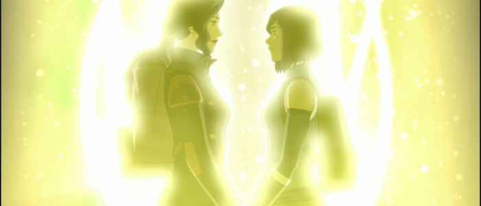 "The loving last shot of Korra and Asami in The Legend of Korra series finale, ""The Last Stand."" Author's screenshot captured via the DVD."