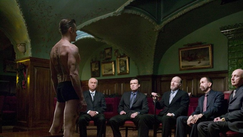 The council inspects Nikolai's tattoos in Eastern Promises.