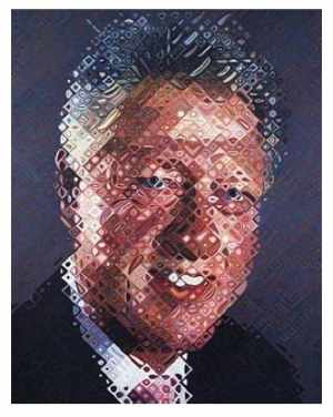 "figure 6a Chuck Close ""William Jefferson Clinton"" 2006 oil on canvas 9 x 7 ft"