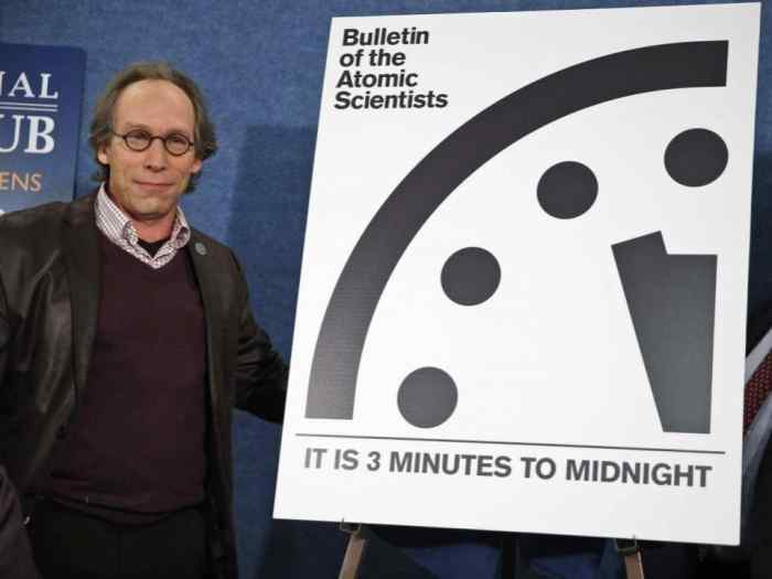 "The Bulletin of the Atomic Scientists has published a ""Doomsday Clock"" since 1947. Dr. Lawrence Krauss, a Professor of Physics at Arizona State, is pictured with the latest version in 2016."