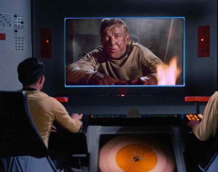 "Commander Hansen on Outpost Four shortly before it's destroyed by a Romulan attack. Outpost three has already been, in Leonard Nimoy's memorably clear enunciation, ""pulverized."""