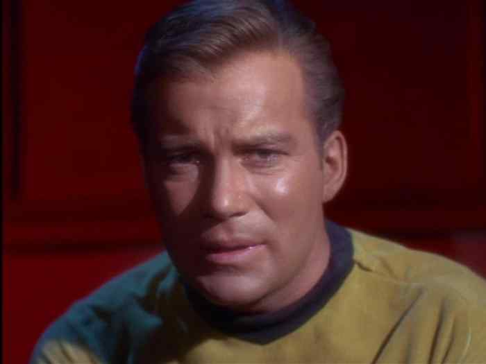 William Shatner as Kirk agonizes about his decision to risk his ship and crew in order to prevent a larger war.