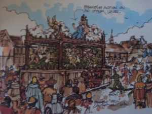 Artist's rendition of a medieval pageant wagon, with God-like actor on top platform.