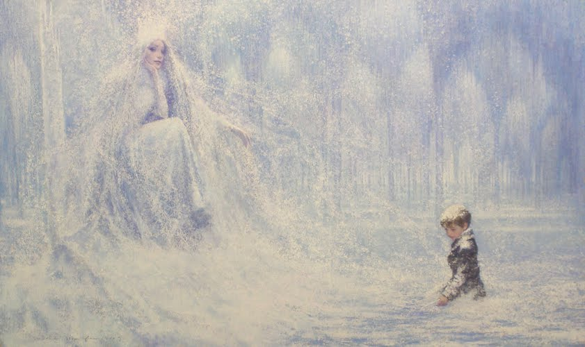 Kay in the Snow Queen's palace, by P.J. Lynch.