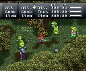 This gameplay image shows the key components of Chrono Trigger: the selection of enemies to attack, as well as standard TBS aspects such as using items, skipping a turn, or (in the case of Chrono Trigger) combined attack if the protagonist is accompanied by more than one NPC