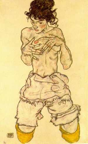 Schiele, Woman Touching her Breast