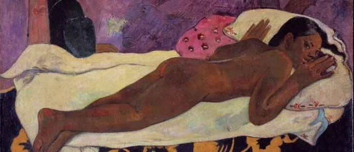 "Gauguin's Manao Tupapau references Manet's Olympia and, when first exhibited, it was called the ""Olympia of Tahiti""."