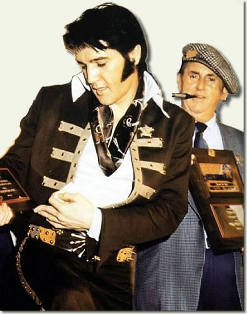 This picture of Elvis and Tom Parker in 1970s shows an Elvis who is almost a parody of what he once was.