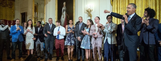 President Obama welcomes the cast of Hamilton to the White House to sing thought the show for students.