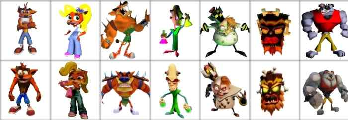 Crash bandicoot teaches a thing or two about revivals the artifice comparison between old and new designs of crash coco tiny n brio n gin uka uka and koala kong malvernweather Gallery