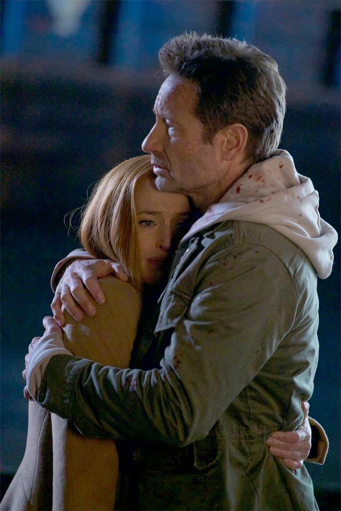 "Gillian Anderson and David Duchovny in ""My Struggle VI"" S11E10. The X-Files. 2018."