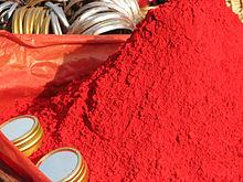 Vermilion-colored powder