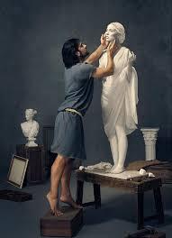 Pygmalion admires his statue, Galatea