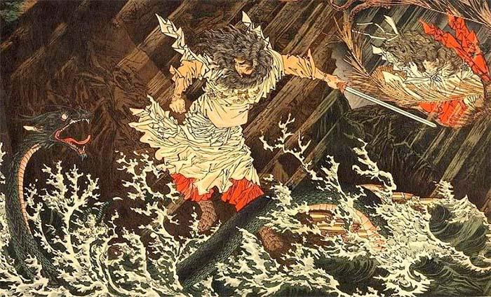 Susano'o kills Yamata no Orochi