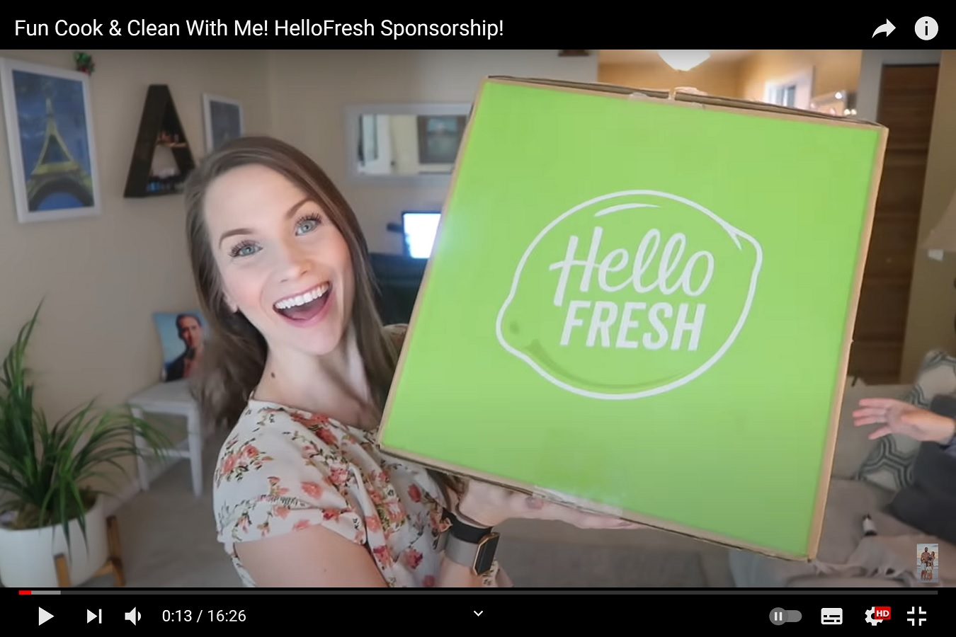 "A screenshot of a video entitled ""Fun Cook & Clean With Me! HelloFresh Sponsorship!"" demonstrating the popularity of food sponsorships."