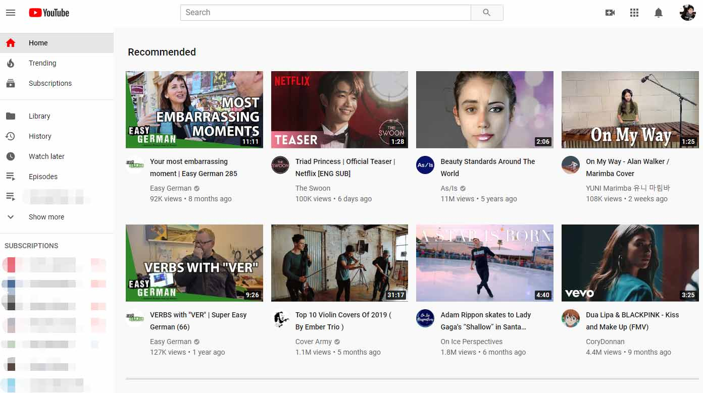 A 2020 screenshot of YouTube, for comparison