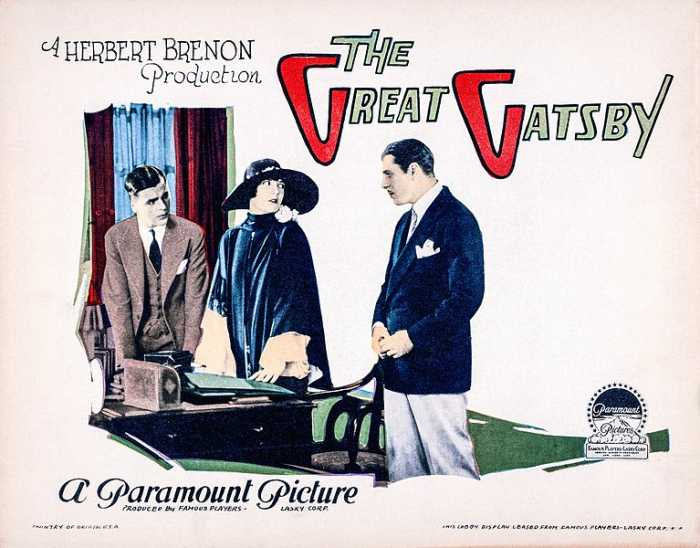 Lobby card for the 1926 film adaptation 'The Great Gatsby'.