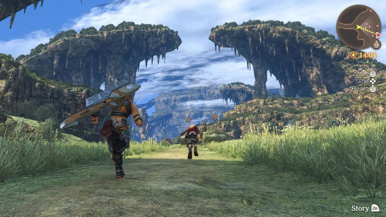 Shulk and Reyn traveling across the Bionis Leg