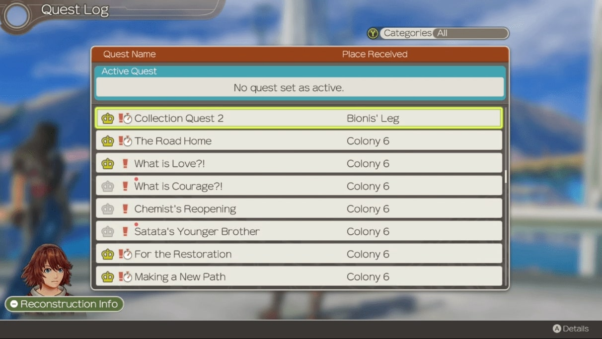 The streamlined side quest menu within Definitive Edition. Shows an example of one of the points of the previous paragraph, and the enhancement of the remake.