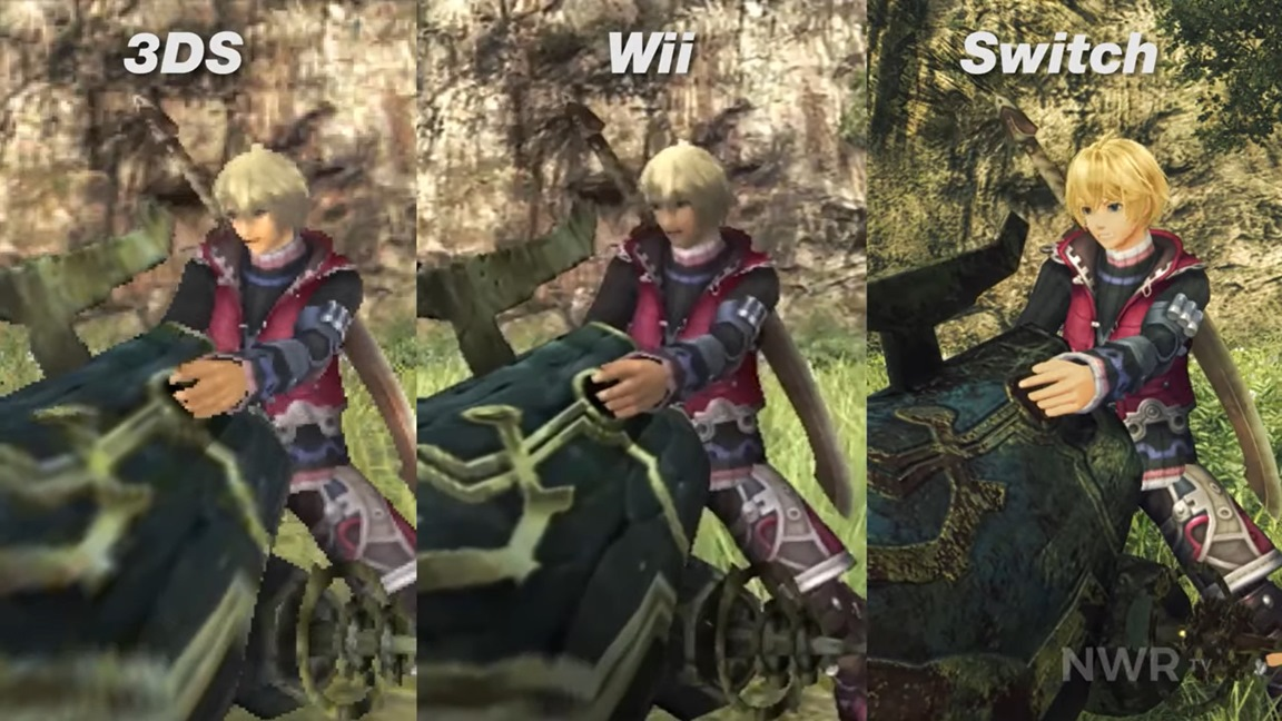 Shows the graphical comparison between the three major versions of the game.