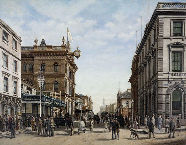Painting of George Street in Sydney, Australia