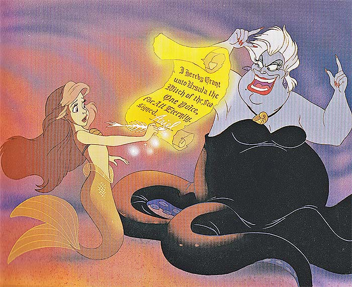 Ariel accepting Ursula's contract